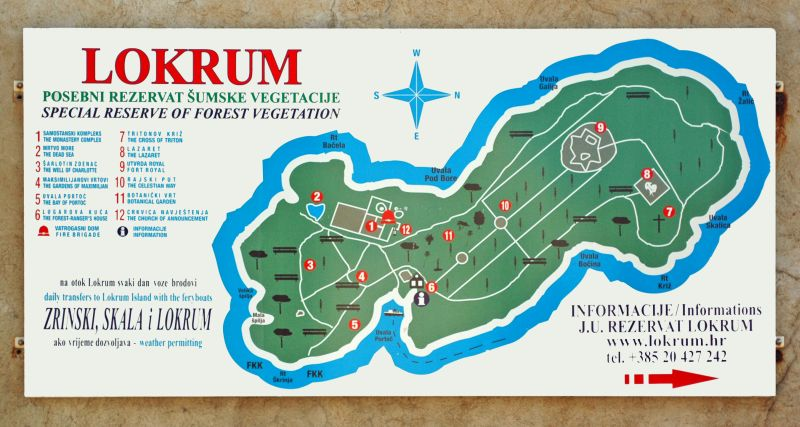 Plan de l'île de Lokrum